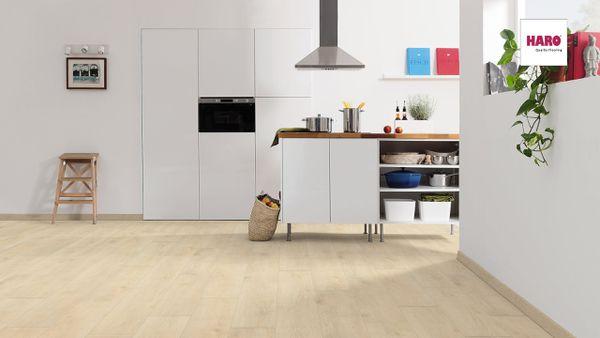 537369 HARO Laminatboden Landhausdiele 4 V Eiche Veneto sand authentic matt QV
